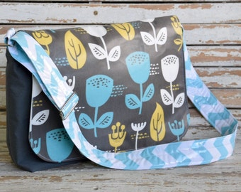 Messenger Bag- Mod Wildflower/ Aqua handle