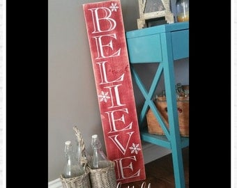 Rustic Believe Christmas Porch Sign