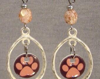 Pink Pawprint Hoop Dangle Earrings - Pawprints Jewelry