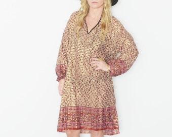 Vintage India Cotton Gauze Tunic Dress