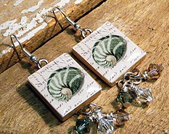 Scrabble Tile Earrings / Green Sea Shell / Vintage Style Postcard / Drop Earrings / Beach Earrings / Green Shell Earrings / Dangle Earrings