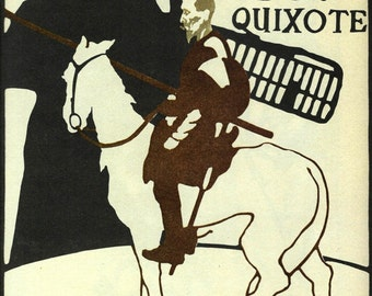 Lyceum Don Quixote Print by William Nicholson, Vintage Art Nouveau 2-sided 1984 Litho 10x11 Book Plate, The Marrow by Frank Brangwyn
