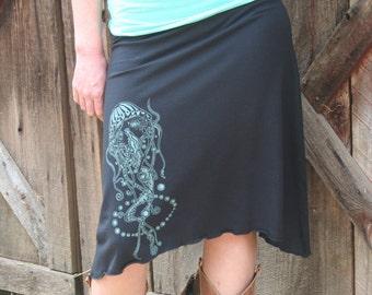 Screen Print Skirt Jellyfish Nautical Soy Organic Cotton Spandex Black USA Made New