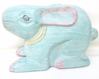 Vintage Wooden Rabbit    Wood Door Stop   Wood Bunny   Doorstopper   Easter Bunny   Nursery Animal Art