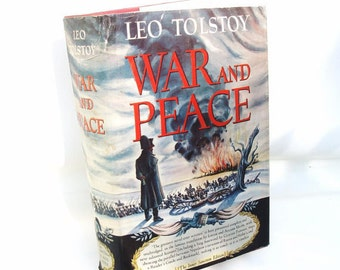 Vintage War and Peace, Leo Tolstoy, Classic Books, Literature Art, Original Dust Cover