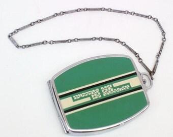 Elgin American Compact | Art Deco Compact | Necessaire | Enamel Powder Compact - Green Black