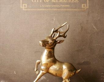 Vintage Brass Stag Deer Figurine - Great Holiday Decor!