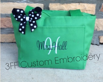 Personalized Insulated Lunch Tote Pick your Tote Color, Font, & Thread Color