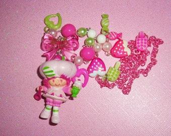Vintage Raspberry Tart Ice Cream Sundae Beaded Charm Necklace