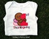 Thanksgiving Onesie baby girl or boy - First Thanksgiving, Long sleeve - turkey day - bodysuit