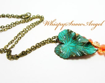 Patina Leaf Necklace Large Leaf Charm Woodland Jewelry Nature Necklace Copper Crystal Rondelles Bronze Chain