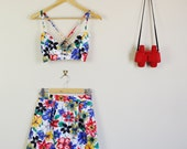 Rainbow Floral Print Twin Set Fitted Sweetheart Crop and Matching Pleat Skirt 90s Cute Lolita 60s 70s 80s