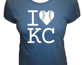 I Love Kansas City Baseball Womens Shirt - KC Fan - Cute Organic T Shirt - 4 Colors - Organic Bamboo / Cotton Tee Shirt - Gift Friendly