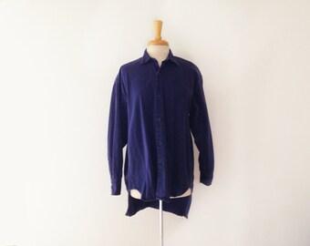 "1980s oversized ""Katharine Haimmnet London"" designer button downshirt size large"