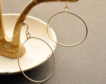 """Gold Dangle Hoop, Gold Hoop Earrings, Rose Gold Hoop, Gold Boho Earrings, Dangling Hoop, Large Gypsy Hoop, Gold Filled Hoop, 1 1/2"""", 2"""""""