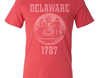 Delaware State Seal T-Shirt. Vintage Style Soft Retro New England Shirt Unisex Men's Slim Fit and Women's Tee