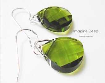 Sterling Silver Olive Green Crystal Earrings Avocado Army Moss Green Swarovski Crystals Briolette Teardrop Pear Dangle Earrings % SPECIAL