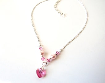 Childrens Heart Necklace, Pink Heart Necklace, Kids Jewelry Necklace, Junior Bridesmaid Jewelry, Gift for Tween Girl, Gift for Child Girl