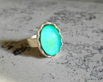 Mood Ring, silver plated, Adjustable