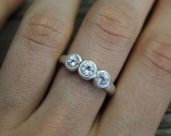 Three stone White Topaz Ring, Bezel Set White Topaz, Three Stone Ring, Past Present Future Ring, Eco Friendly Ring