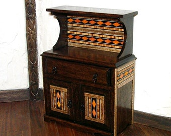 Rustic Hutch with Inlay Decoration, Rustic Dollhouse Miniature 1/12 Scale, Hand Made