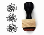 Rubber Stamp Lotus Flower - Hand Drawn Flower Blossom Stamp