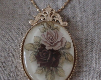 Roses Design Domed Pendant Necklace, New Stock