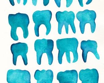 Aqua Molars. An original dental watercolor painting.
