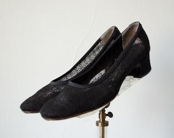 1960s vintage shoes / sheer mesh pumps / I. Magnin / size 7.5-8