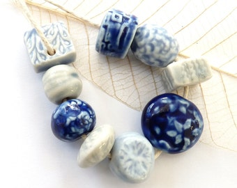 Clay beads ~ 8 handmade blue porcelain beads, 1 charm, ceramic components, unique boho art beads, jewelry making supply, jewellery supplies