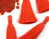"""Aurora Red Pantone Silky Luxe Tassels FALL, Autumn Popular Color, 2 Silky Handmade Long Tassels, Jewelry Making Supply, 3.5"""", 2 Pieces"""