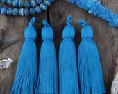 "Turqoise Tassel Luxe Large Handmade Cotton Tassels, 3.75"", Mala Necklace Jewelry Making Supply, December Trend, Interior Design, 2 Tassels"