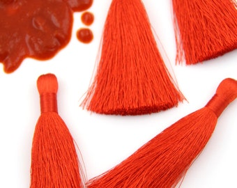 "Aurora Red Pantone Silky Luxe Tassels FALL, Autumn Popular Color, 2 Silky Handmade Long Tassels, Jewelry Making Supply, 3.5"", 2 Pieces"
