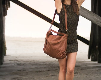 Sales! Hobo Bag in Soft Natural Tan Leather.Multiple handles.Perfect Bag for Women.Elegant.100% Leather.