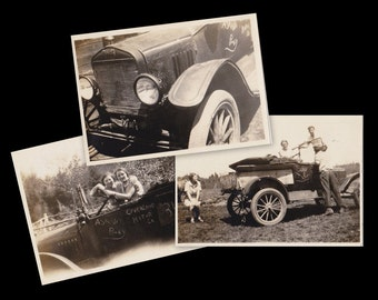 Ask Any Baby- 1920s Antique Photographs- SET of 3- Overland Motor Co- Automobile- Roaring 20s- Found Photos- Car Snapshots- Paper Ephemera