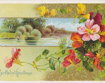Birthday Greetings- 1900s Antique Postcard- Edwardian Floral- Primrose Flowers Art Card- Landscape Scenery- Paper Ephemera- Used