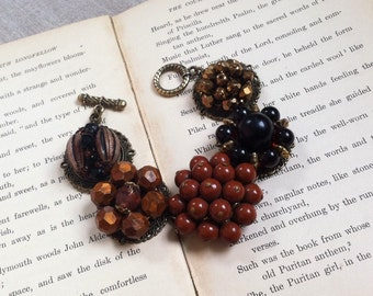 Cluster Clip Earring Bracelet Handmade Ooak  Brown Autumn Upcycled Vintage Jewelry Prom