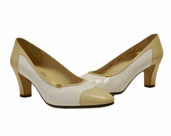 Vintage 1980s Ferragamo Leather Spectator Shoes Size 8B Never Worn