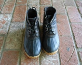 Women Size 7 Eddie Bauer Hightop Lace Up Ankle Boots Waterproof Rain Duck Ducky Duckie Boots Black and Tan Leather Rubber Boho Fall