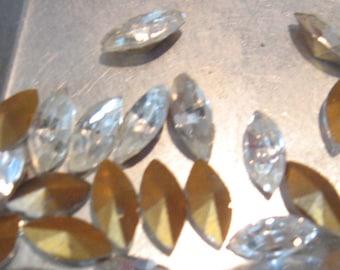 Vintage Swarovski Crystal Navette 8x4mm Rhinestones QTY - 4