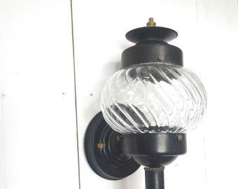 Vintage Porch Light 1950s Black Metal Globe Glass Indoor Outdoor Front Door Vintage Sconce Lamp