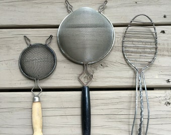 Vintage Kitchen Strainers Metal Wood Food Grease Frying Utensil Lot ~ #A2599