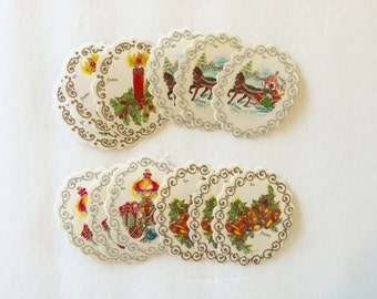 Vintage 1970s Christmas gift tags / gift labels / to and from / retro / kitsch / lot of tags /unused / set of 12 / mid century / glitter