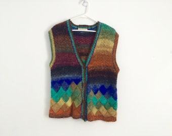 1970s sweater vest, rainbow knit sweater, chunky, hippie, bohemian, retro