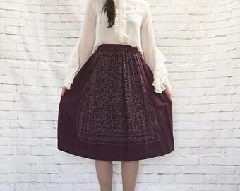 Vintage 70s Bandana Print Apron Border Skirt Plum Folksy Floral Striped Knee Length
