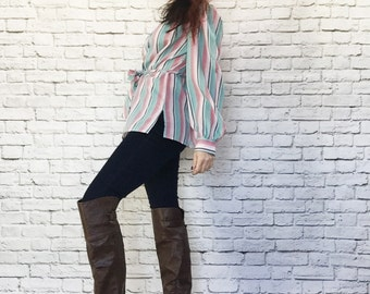 Vintage 70s Gradient Striped Blouse Tunic Top XL Bow Collar Belt Long Sleeve Pink Blue
