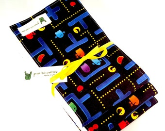 Baby Burp Cloth Set - Pacman Themed - Video Game - 80s