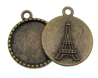 Cabochon Settings : 10 Antique Bronze 18mm Round Eiffel Tower Bezels | Brass Ox Cabochon Settings -- Lead, Nickel & Cadmium Free 57.H5I