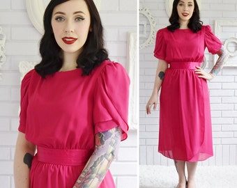 Vintage 1970s Vibrant Pink Dress with Ruffled Sleeves and Satin Waistband Size XS or Small