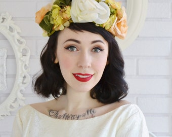 Vintage Floral Hat in Orange Yellow and Light Green with Velvet Bow